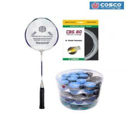 Cosco CB 110 Badminton Racket + Extra Life Replacement Grip + Cbs 80 Gut